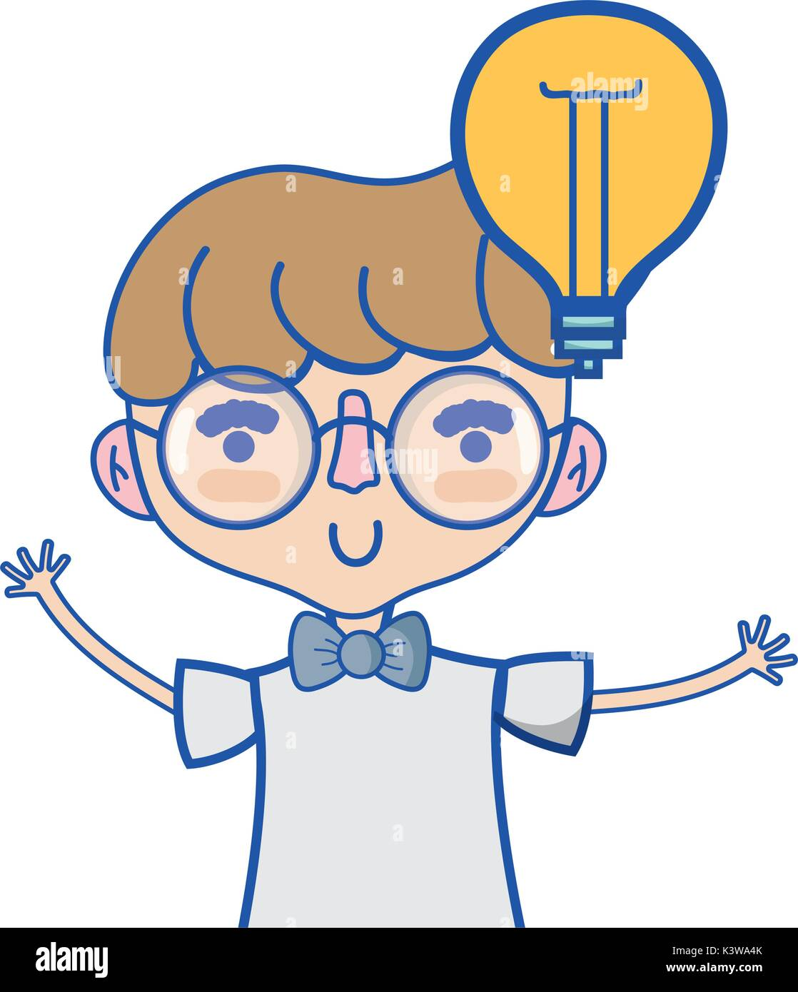 Boy With Bulb Idea And Hairstyle Design Stock Vector Art