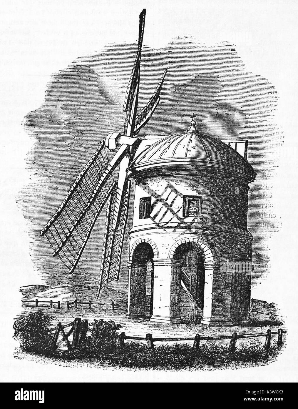 Old illustration of Chesterton windmill, stone tower windmill with arched base in Warwickshire, England. By unidentified author, published on Magasin Pittoresque, Paris, 1841 - Stock Image