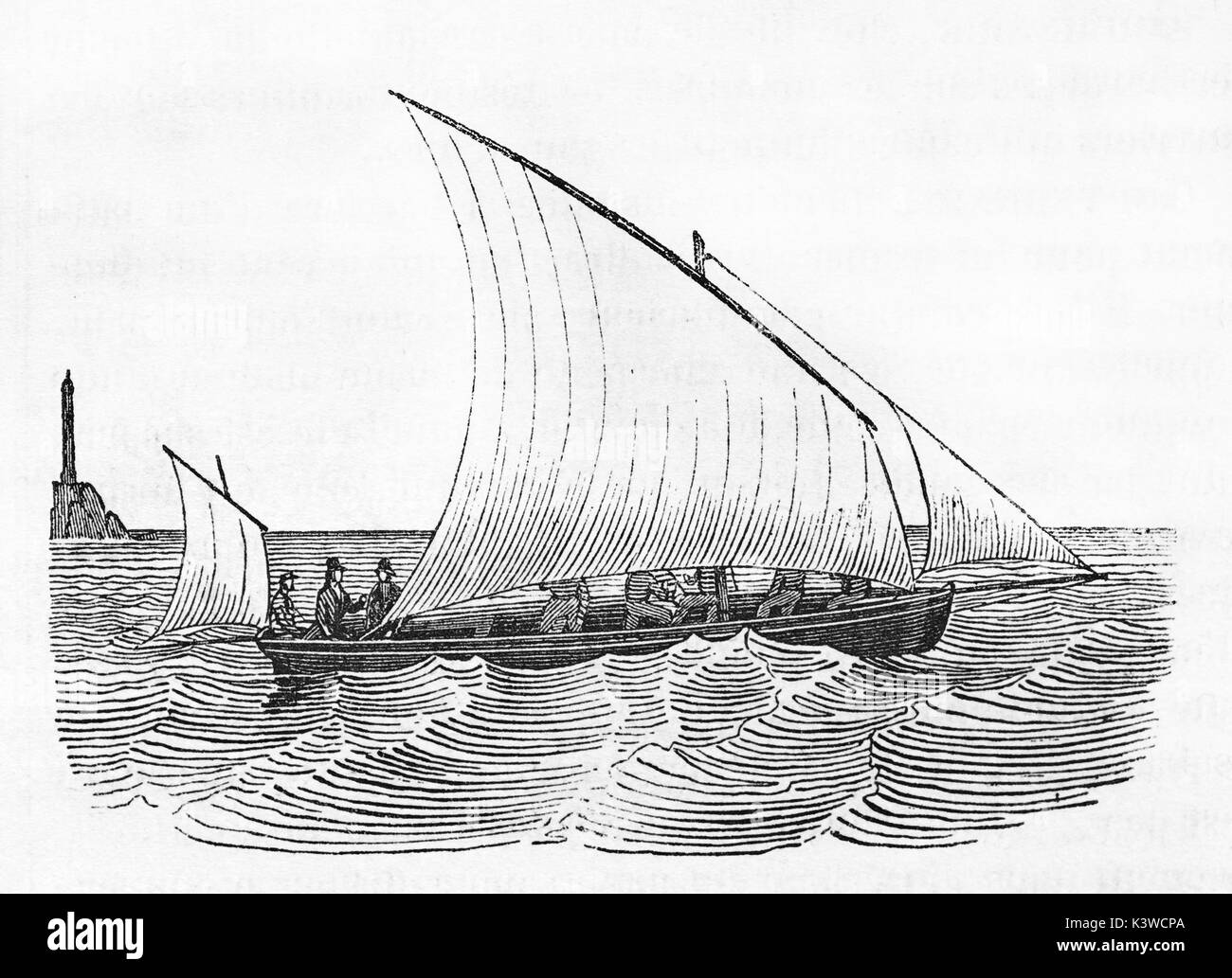 Old illustration of a Guigne, flat-bottomed sailboat. By unidentified author, published on Magasin Pittoresque, Paris, 1841 - Stock Image