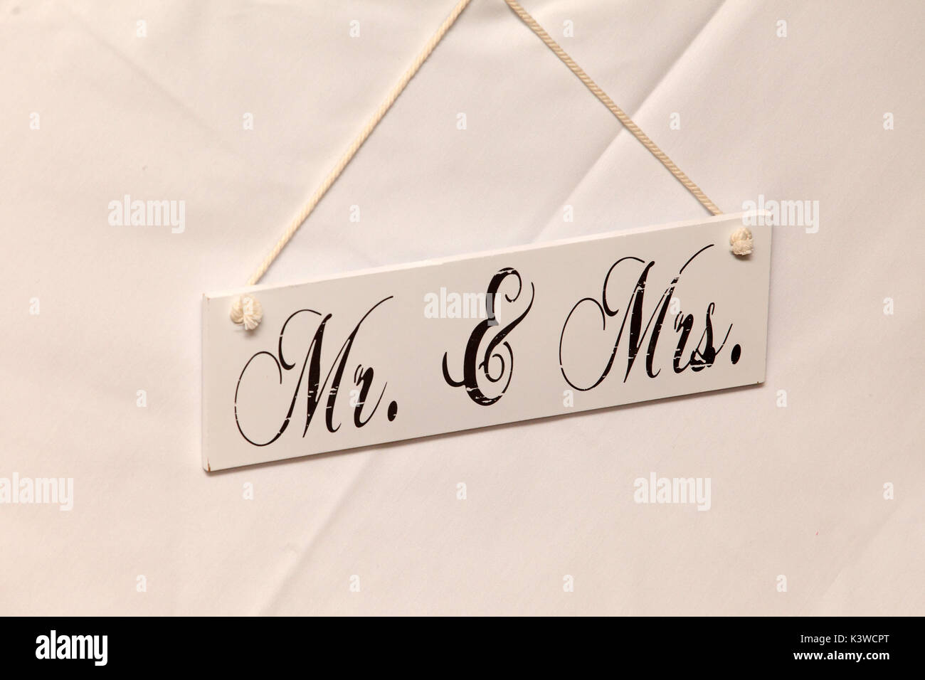 Sign saying Mr and Mrs, mister and misses, wedding,marriage - Stock Image