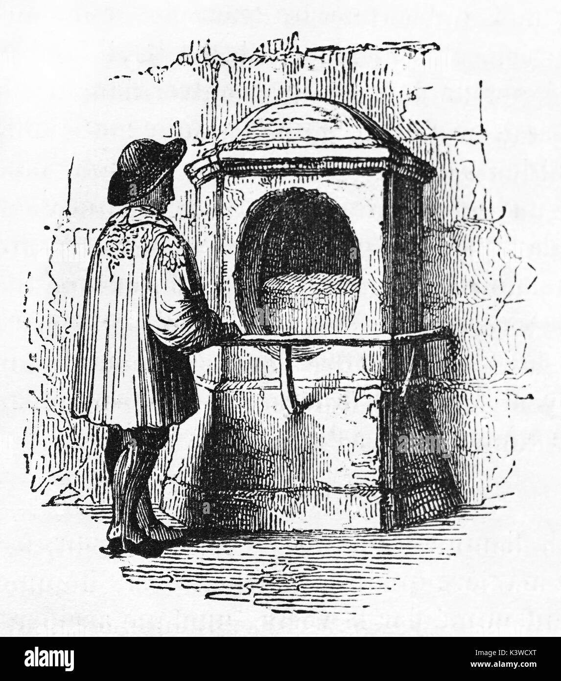 Old illustration of London stone, Cannon strett, London. By unidentified author, published on Magasin Pittoresque, Paris, 1841 - Stock Image