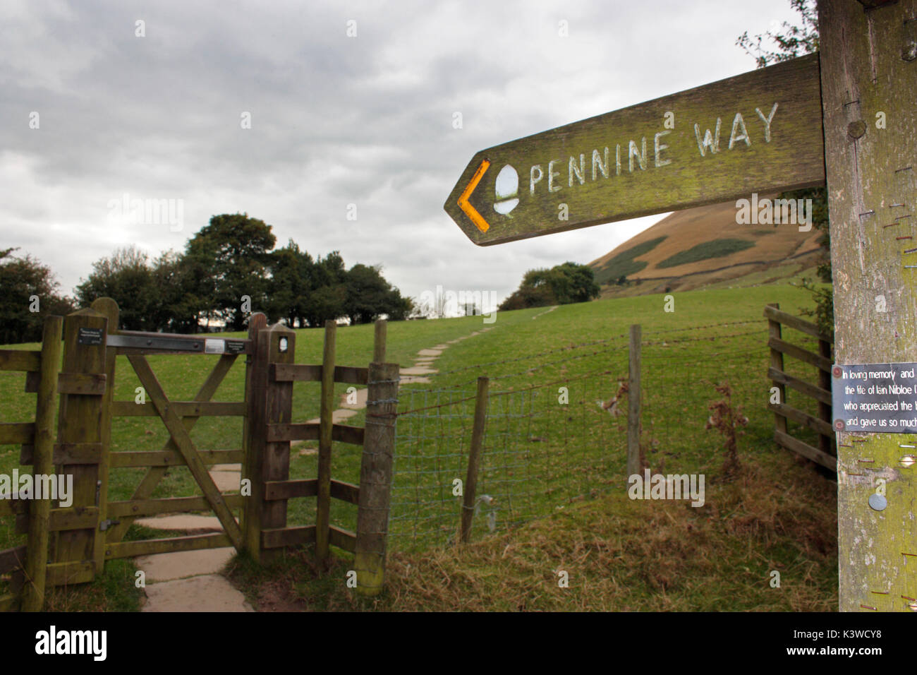 Signpost and gate at the start of the Pennine Way, a long-distance walking trail in the UK - Stock Image
