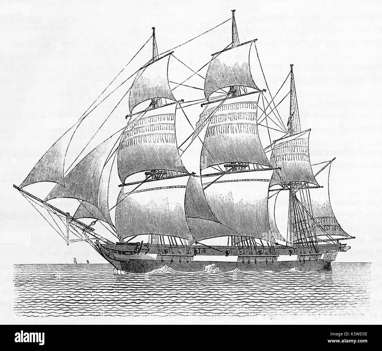 Old illustration of a Sailing Scow, flat-bottomed boat with a blunt bow. By unidentified author, published on Magasin Pittoresque, Paris, 1841 - Stock Image