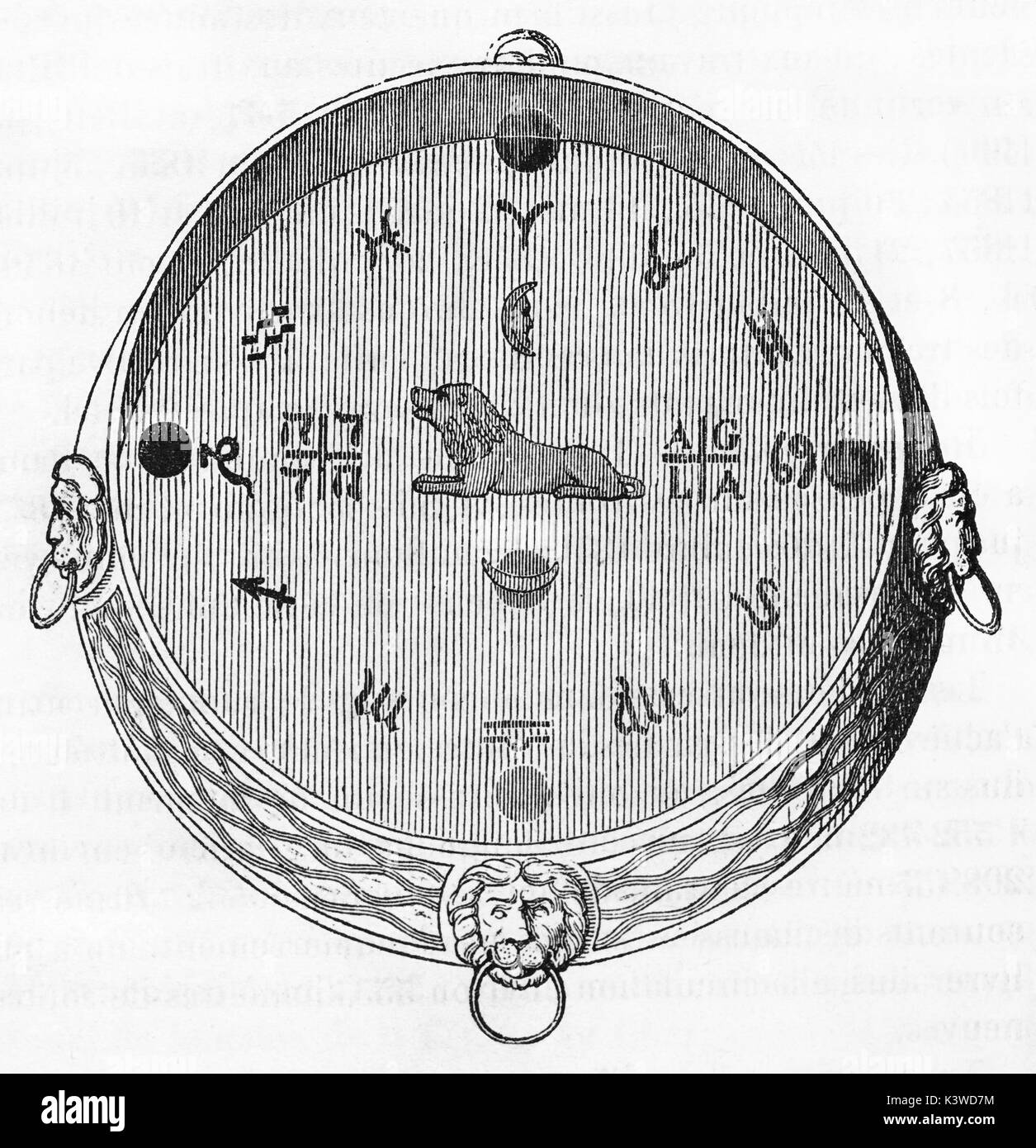 Old illustration of  Albrecht vonWalklenstein horoscope amulet by Kepler. By unidentified author, published on Magasin Pittoresque, Paris, 1841 - Stock Image
