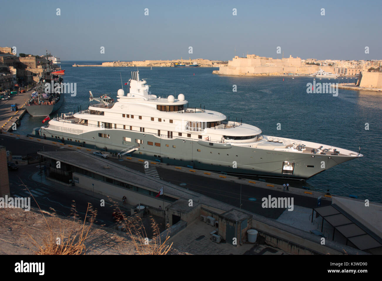 The 110m Lurssen luxury superyacht Radiant in Malta's Grand Harbour, with helicopter on board - Stock Image