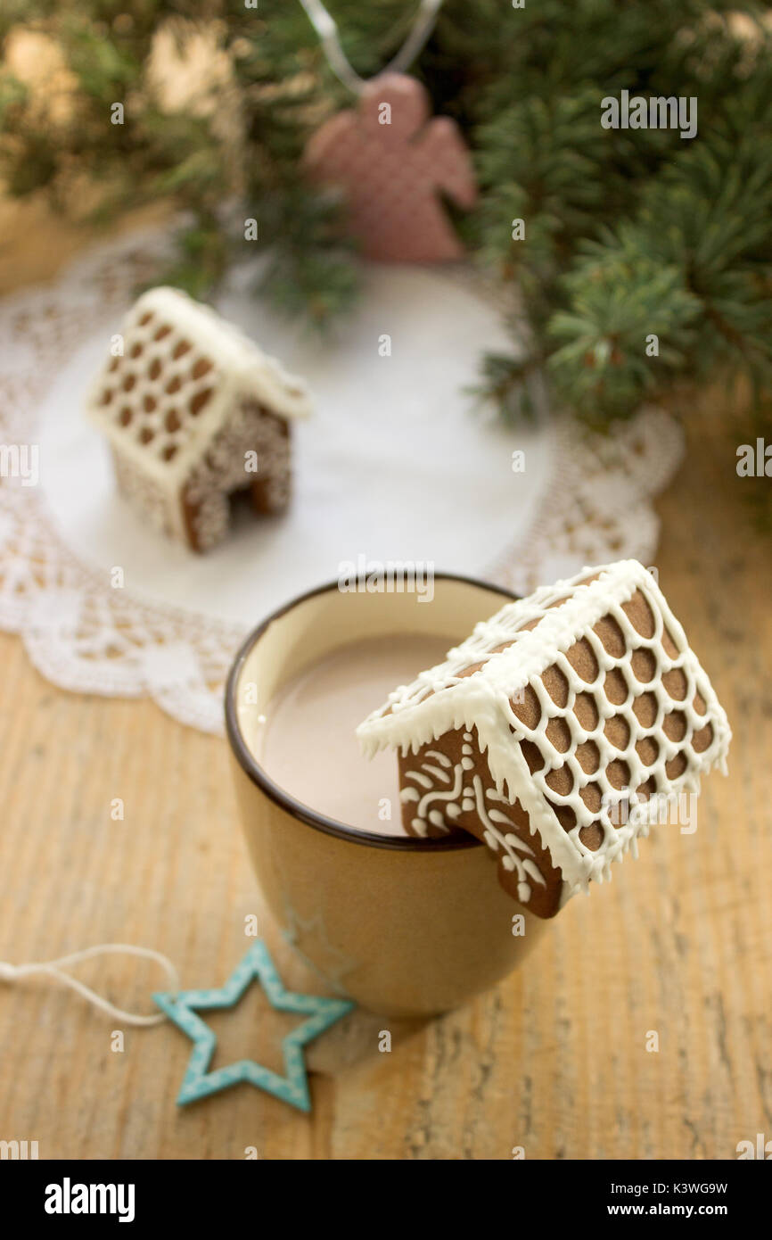 A cup of cocoa with a gingerbread house. Selectiv focus. - Stock Image