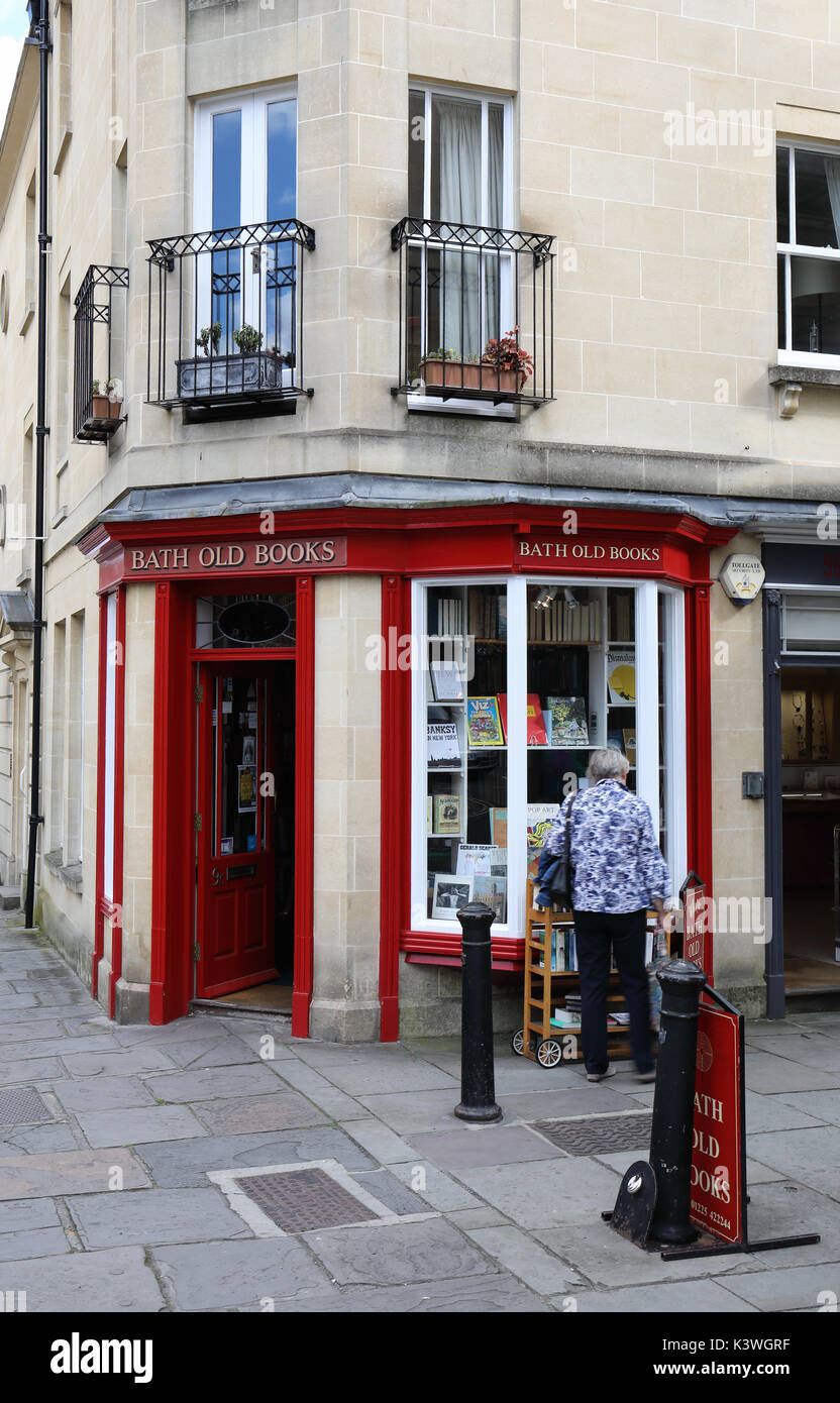 Bath Old Books shop,  Margaret's Buildings, Bath, England - Stock Image