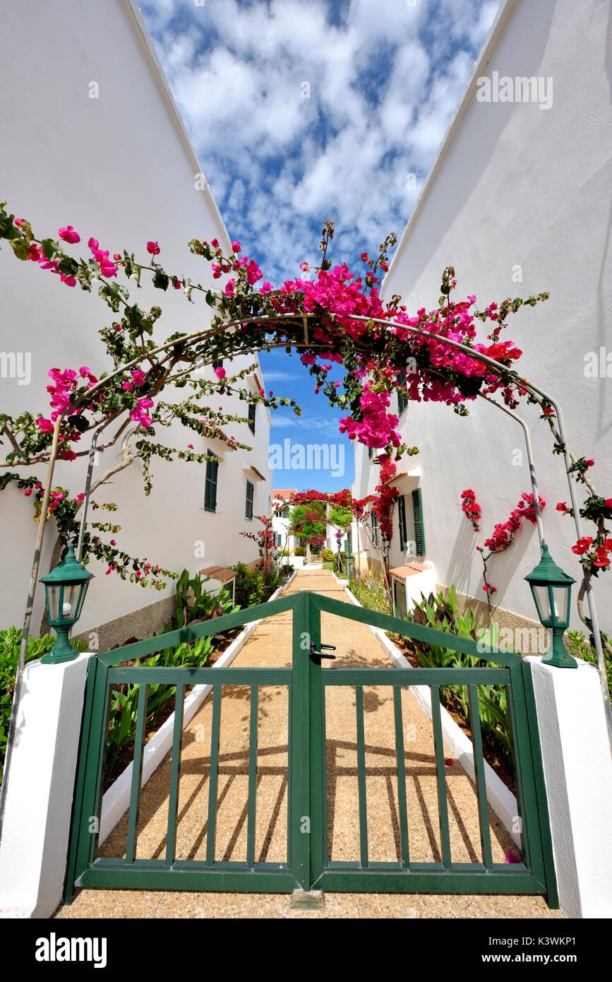 Apartment complex entrance Son Parc Menorca Minorca - Stock Image