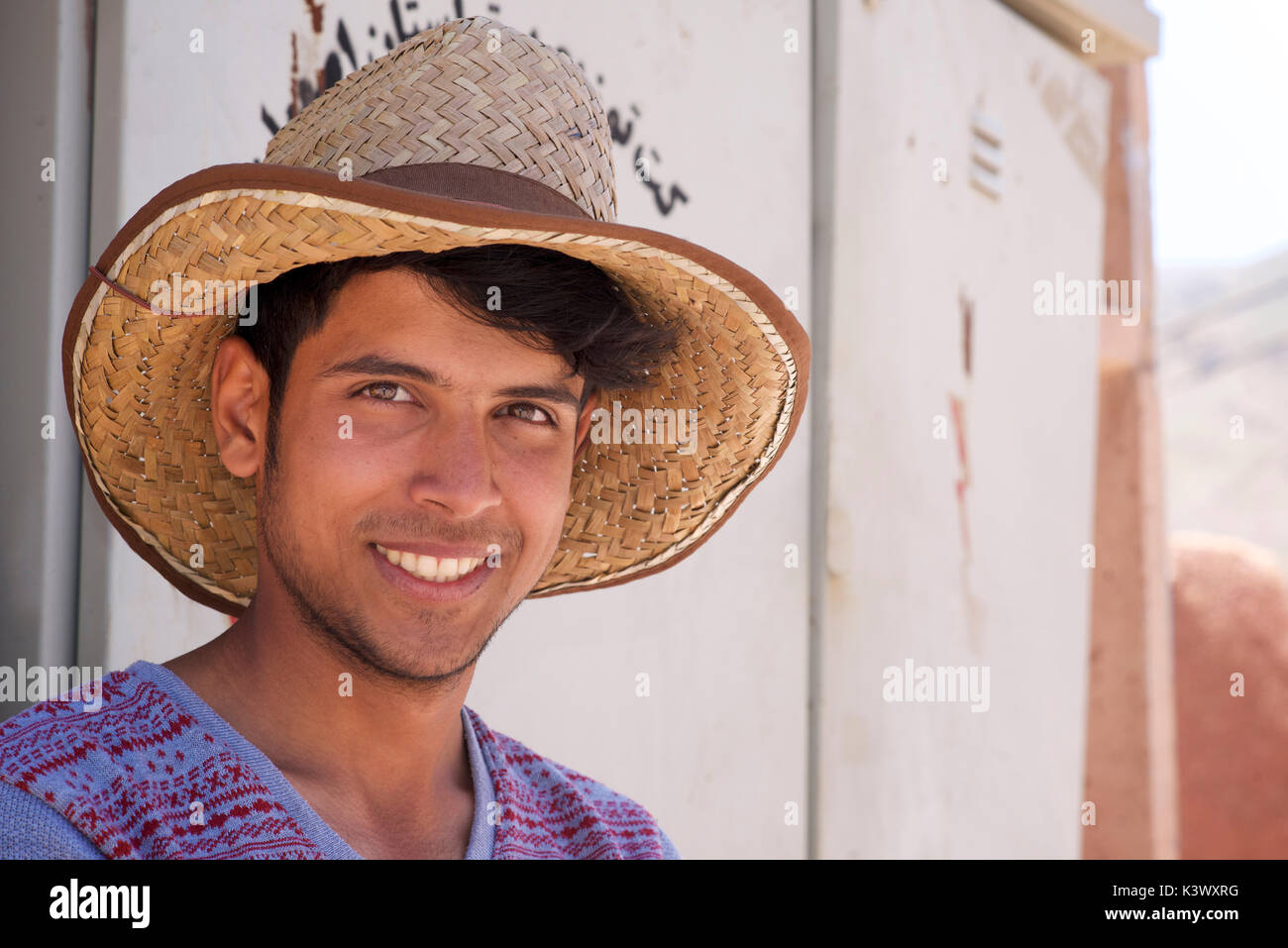 Portrait of an Iranian man at Abyaneh village, Barzrud Rural District, Isfahan Province, Iran - Stock Image