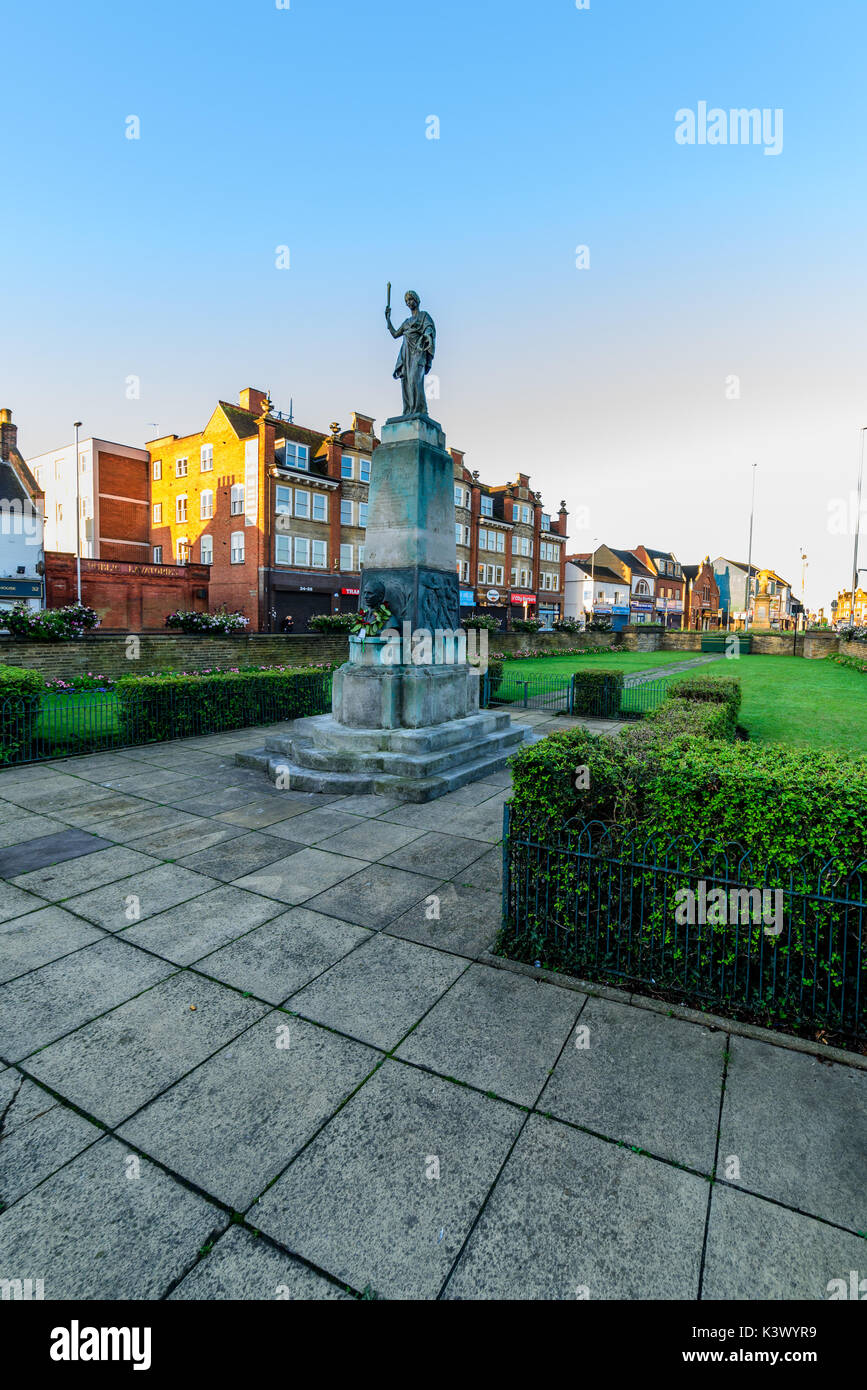 Northampton, UK - Aug 10, 2017: Clear Sky morning view of Mobbs Memorial Monument on Abinton Street Northampton Town Centre. - Stock Image
