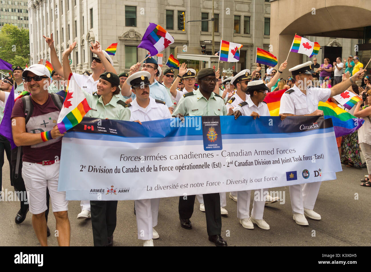 Montreal, CANADA - 20 August 2017: 2nd Canadian Division and Joint task Force from Canadian Armed Forces at Montreal Gay Pride Parade - Stock Image