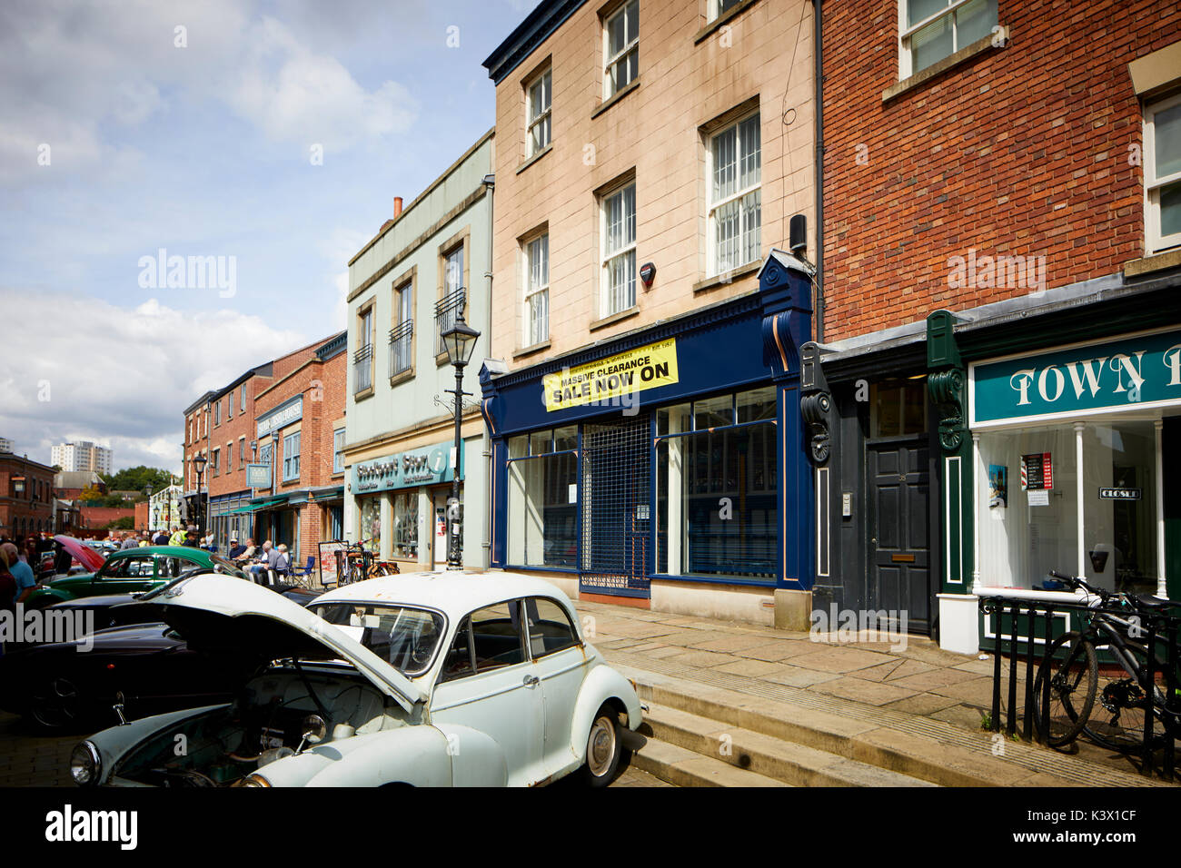 Landmark Stockport Town Centre Cheshire in gtr Manchester St Historic buildings around the market area and vintage retro car show - Stock Image
