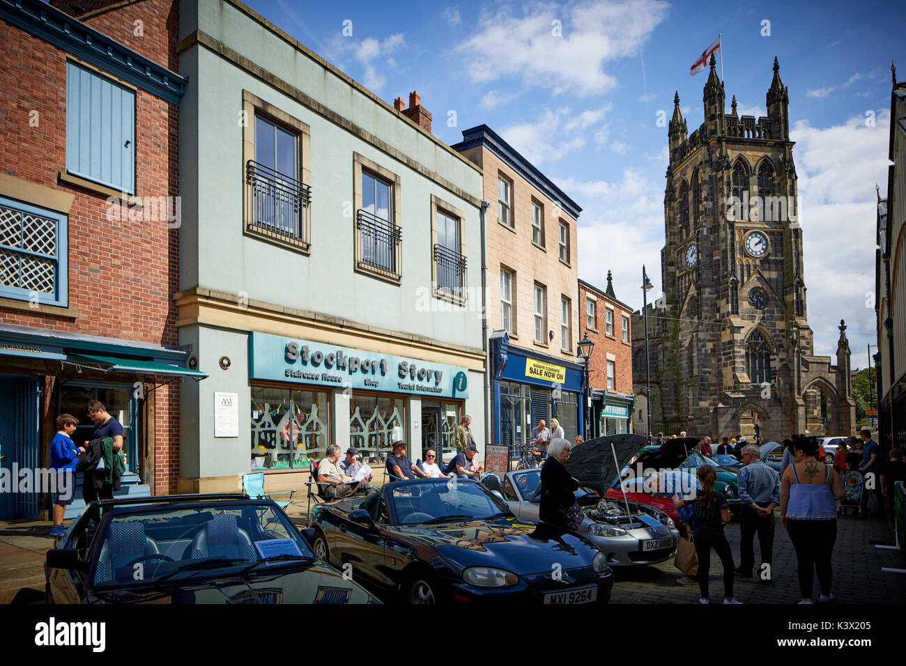 Landmark Stockport Town Centre Cheshire in gtr Manchester St Mary's Church is the oldest parish church in the historic market area - Stock Image