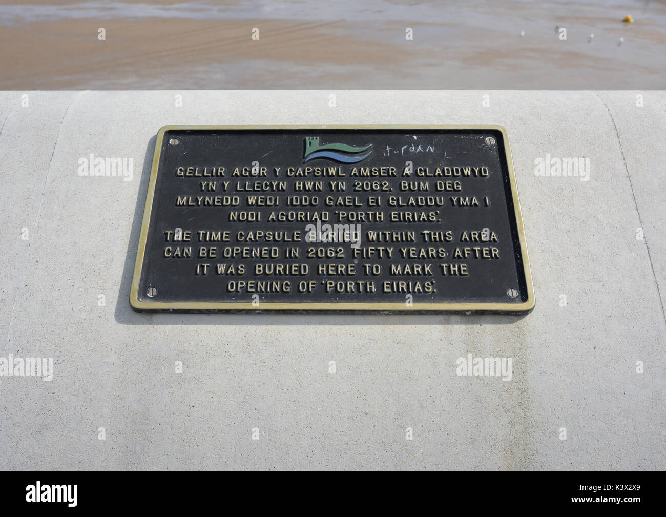 Porth eirias time capsule plaque in north wales uk Stock Photo