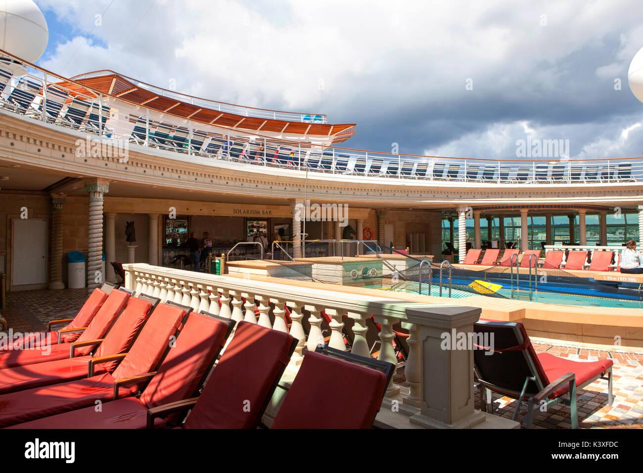 Pool deck 11 of Royal Caribbean Navigator of the Seas cruise ship Stock Photo