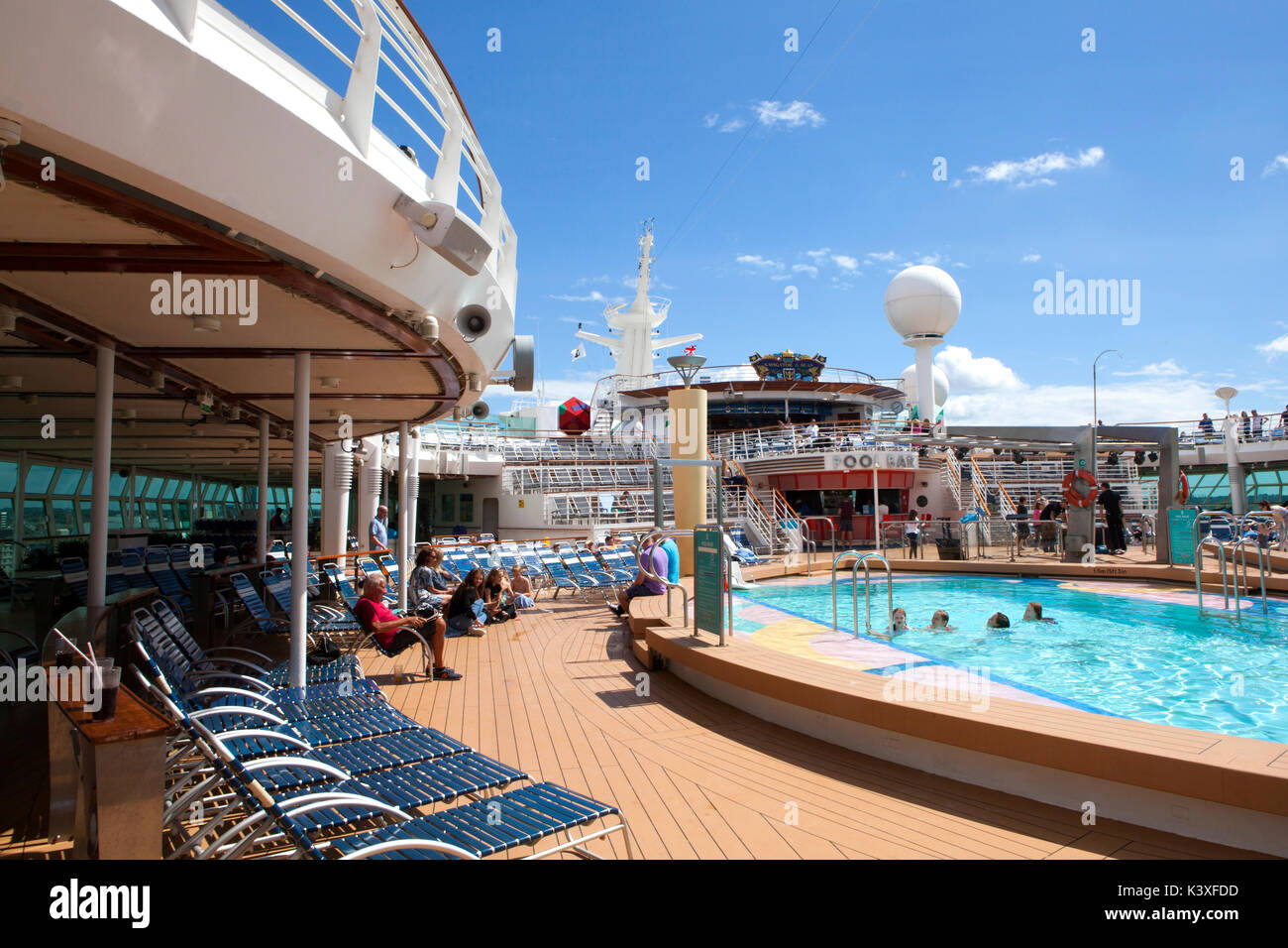 Pool deck 11 of Royal Caribbean Navigator of the Seas cruise ship Stock Photo