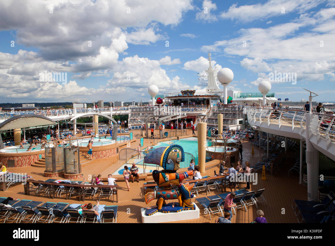 Pool deck 11 of Royal Caribbean Navigator of the Seas cruise ship - Stock Image