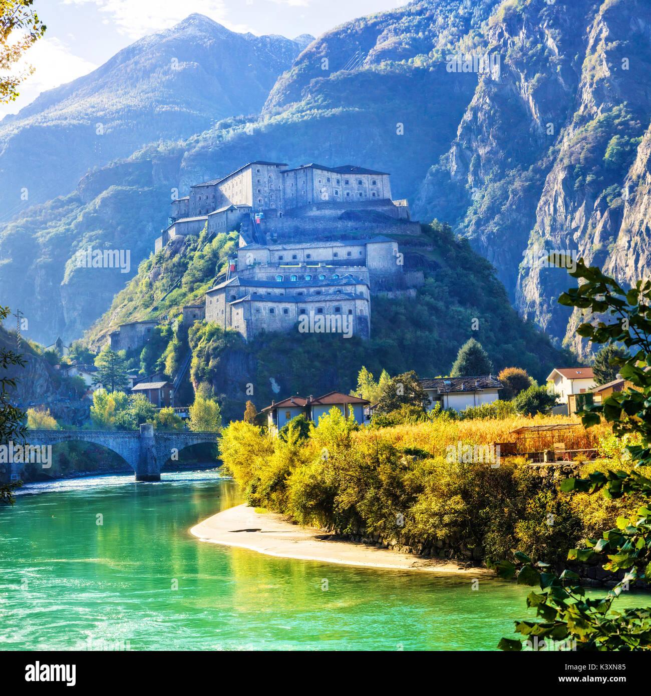 Impresive Bard castle,Valle d' Aosta,Italy. - Stock Image