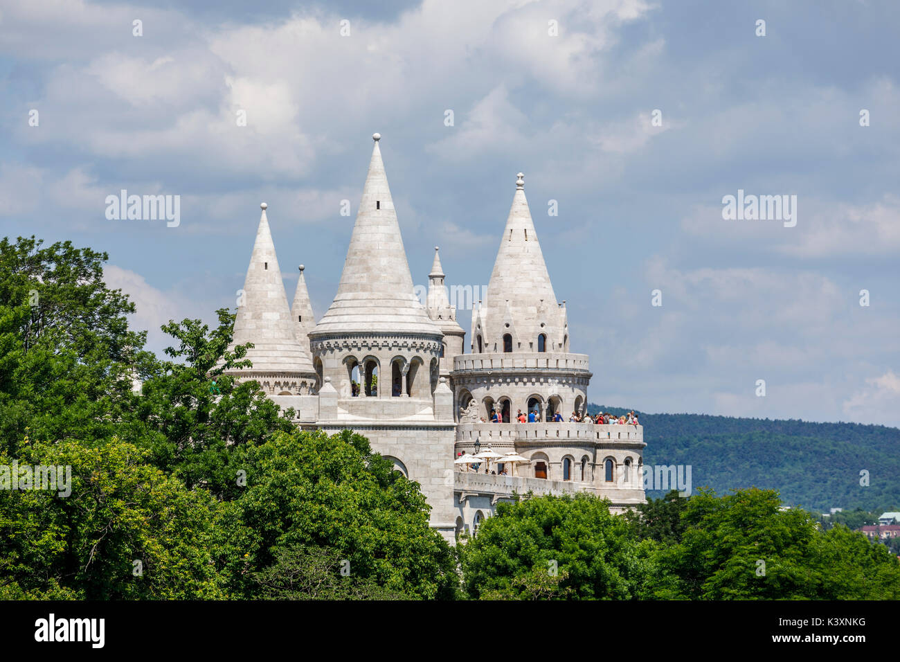 View of the towers of the iconic landmark, Fisherman's Bastion on Castle Hill, Buda, Budapest, capital city of Hungary, central Europe - Stock Image