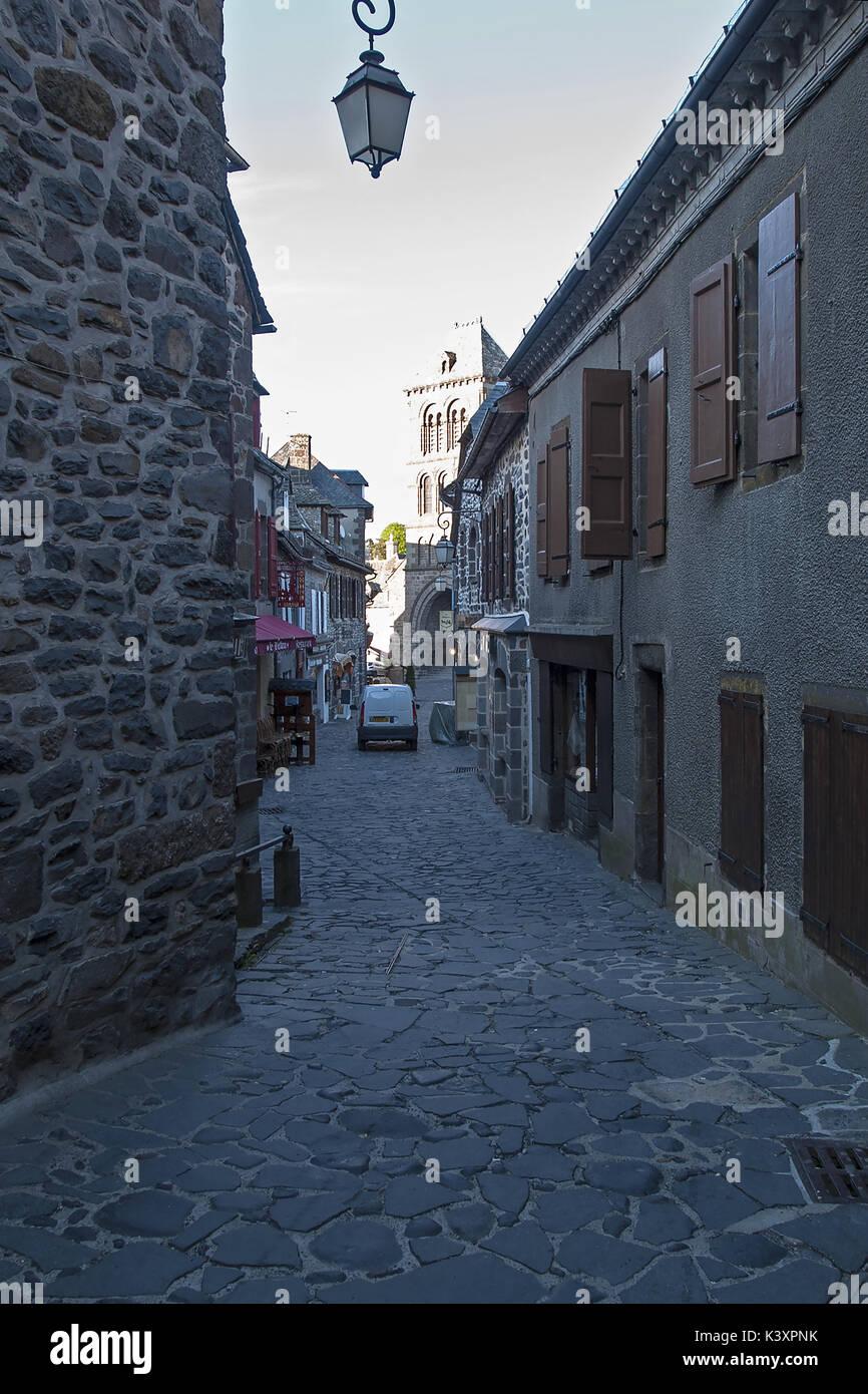 Rue du Beffroi, Salers, Cantal, France Stock Photo