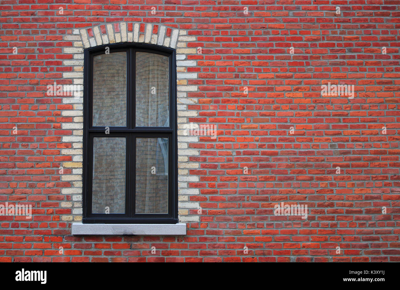 window wall residential window vintage white curtain red brick old architecture Stock Photo