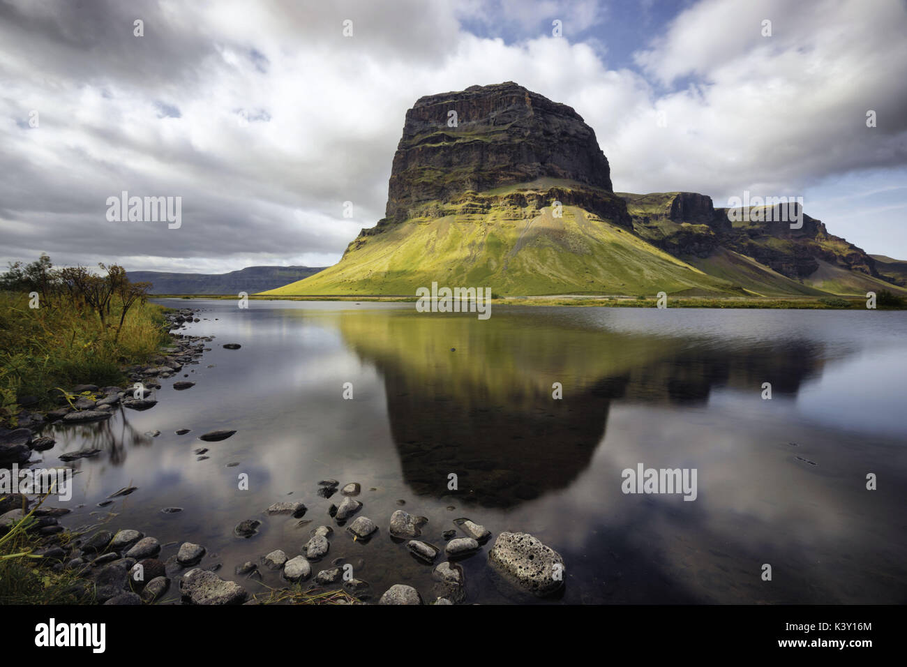 Mountain reflected in a lake in Iceland. - Stock Image