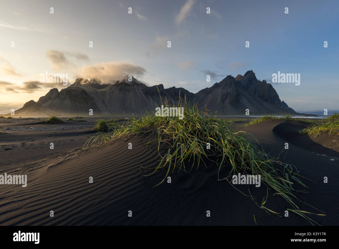 Dunes on Stokksnes beach in front of Vestrahorn mountain, Iceland. - Stock Image