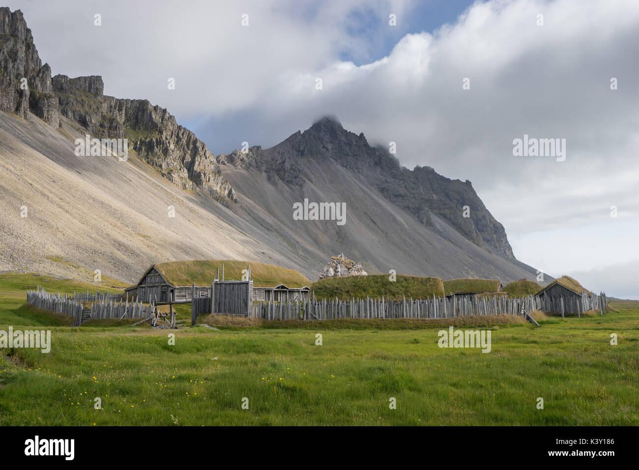 Abandoned Viking village movie set in front of Vestrahorn mountain, Iceland. - Stock Image