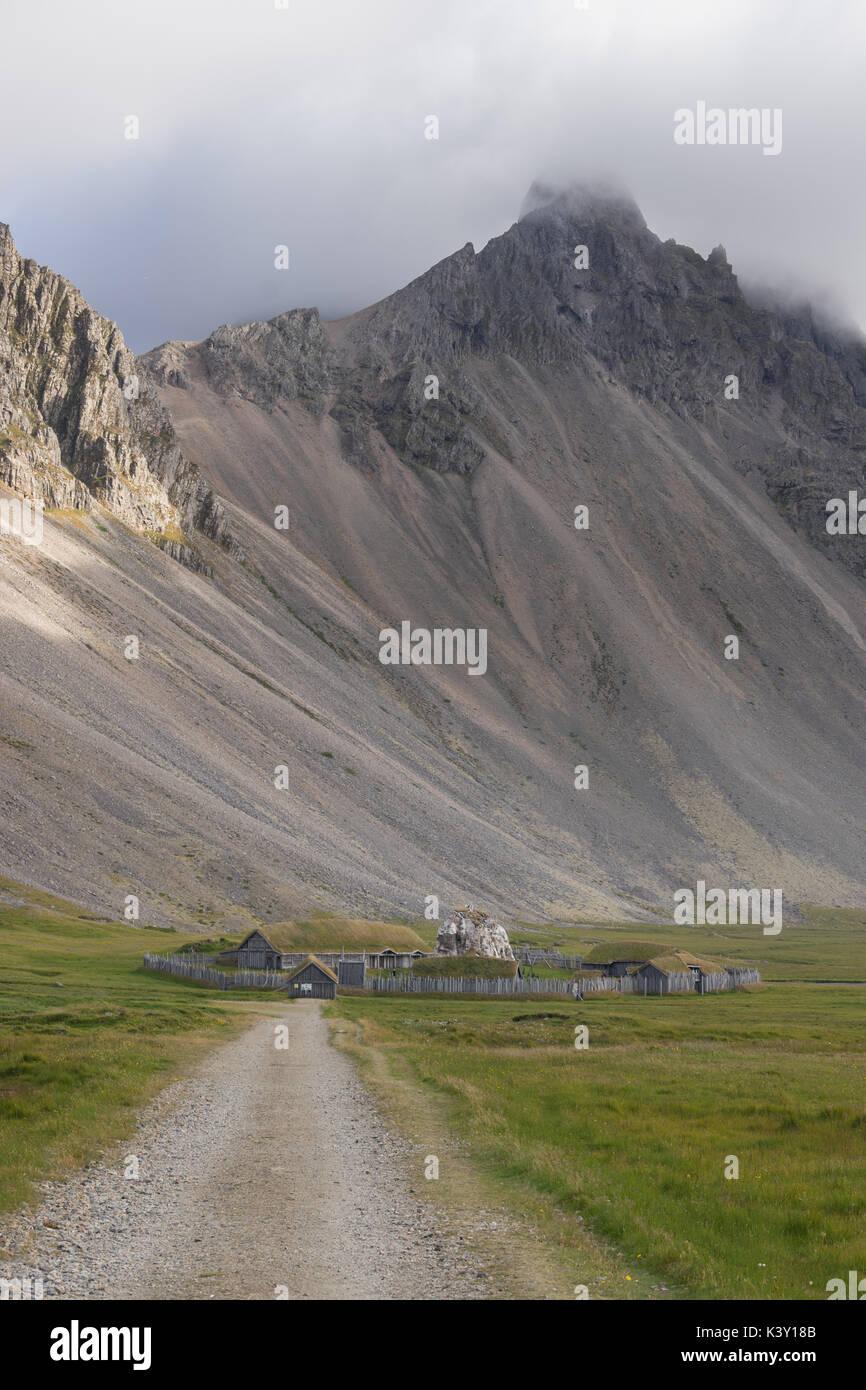 Abandoned Viking village movie set in front of Vestrahorn mountain, Iceland. Stock Photo