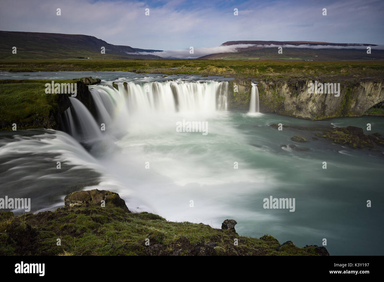 Long exposure of Godafoss, Iceland - Stock Image