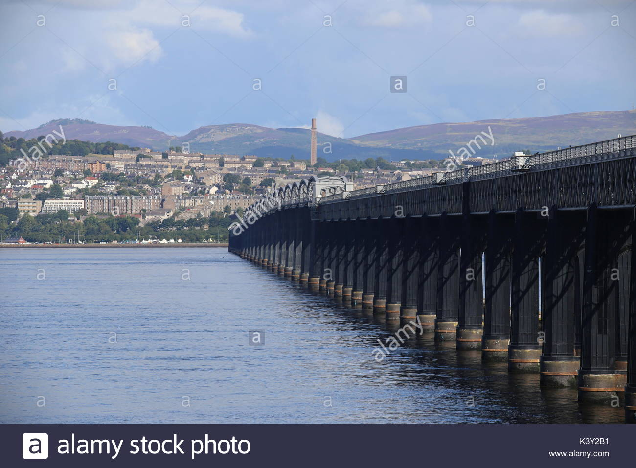 Tay Rail Bridge and Cox's Stack chimney Scotland  August 2017 - Stock Image