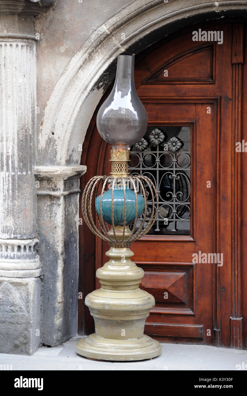 Lviv.Ukraine.- 01 April 2016. The entrance to the restaurant 'Kerosene lamp' in the Central part of the city. The photograph shows a Large decorative  - Stock Image