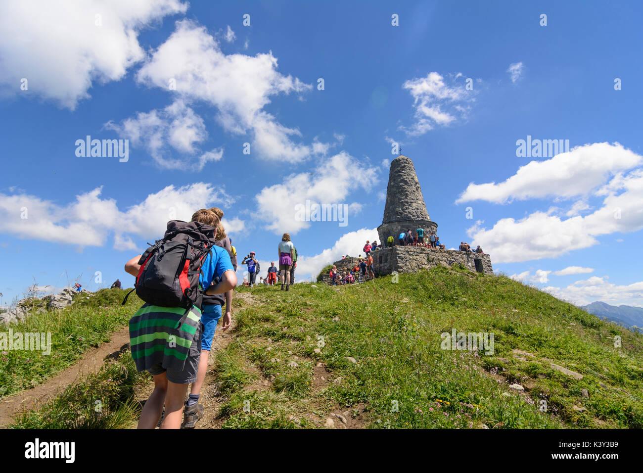 mountain summit Grünten,  Gebirgsjäger monument, hiker, Burgberg im Allgäu, Schwaben, Allgäu, Swabia, Bayern, Bavaria, Stock Photo