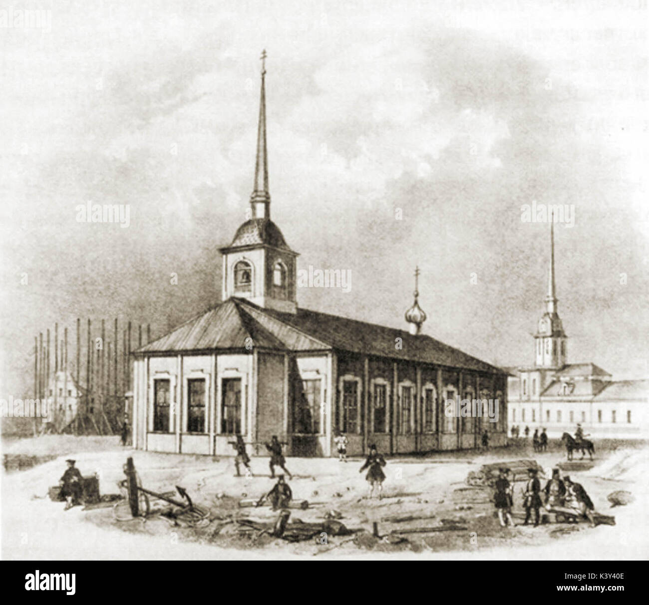 The first St. Isaac's Church (Lithography of Auguste de Montferrand's drawing, 1710) - Stock Image