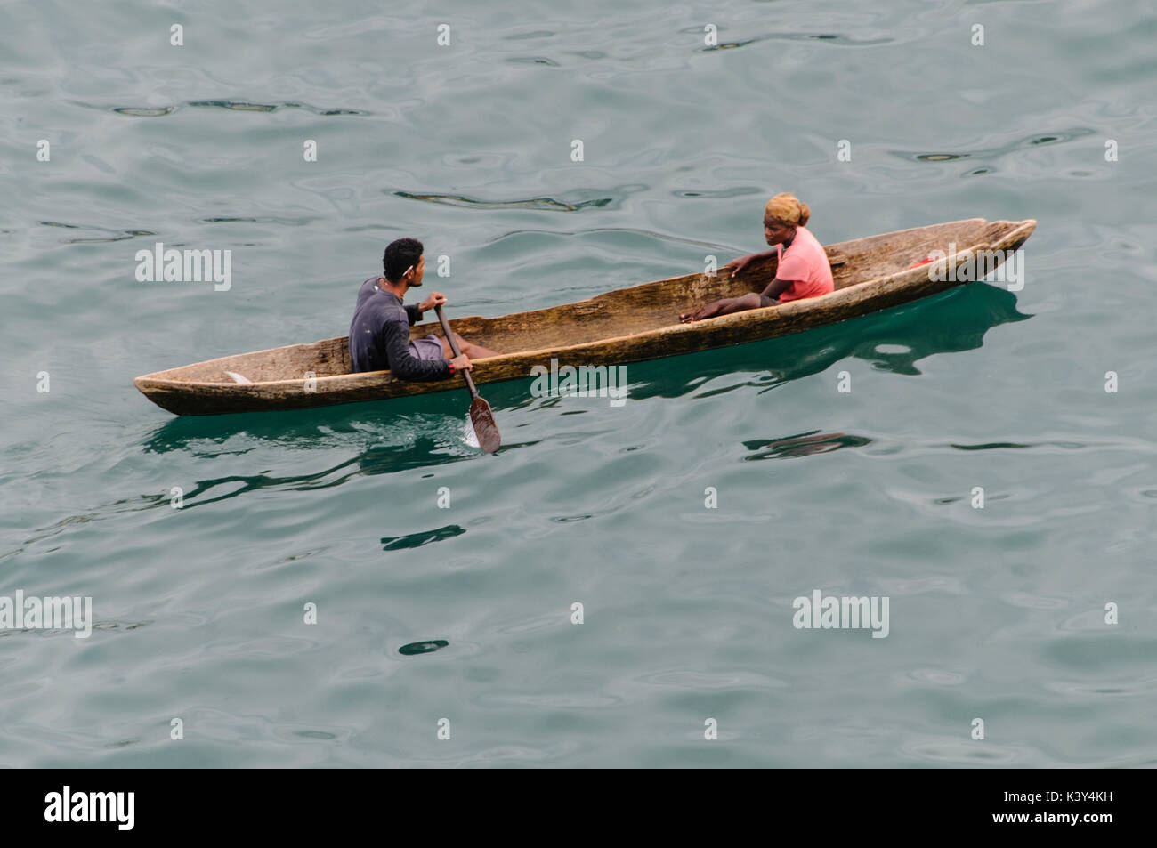 Traditional Dugout Canoe at Honiara, Solomon Islands, South Pacific - Stock Image