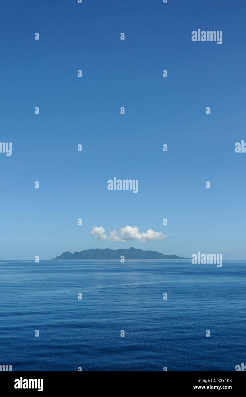 Tropical Island in Iron Bottom Sound near Honiara, Solomon Islands, South Pacific. - Stock Image