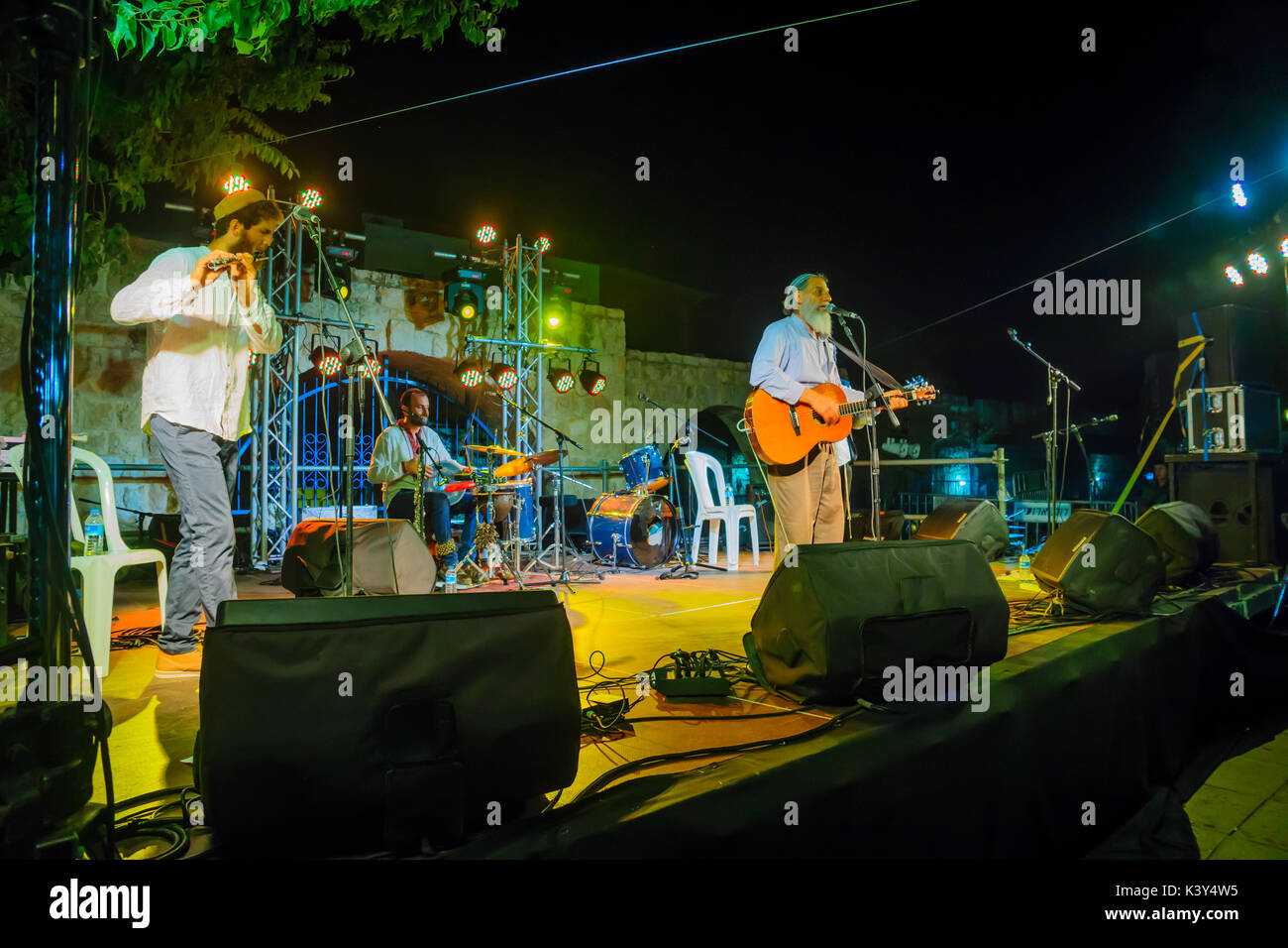 SAFED, ISRAEL - AUGUST 23, 2017: Group of musicians (Yehuda Katz) play at the Klezmer Festival in Safed (Tzfat), Stock Photo