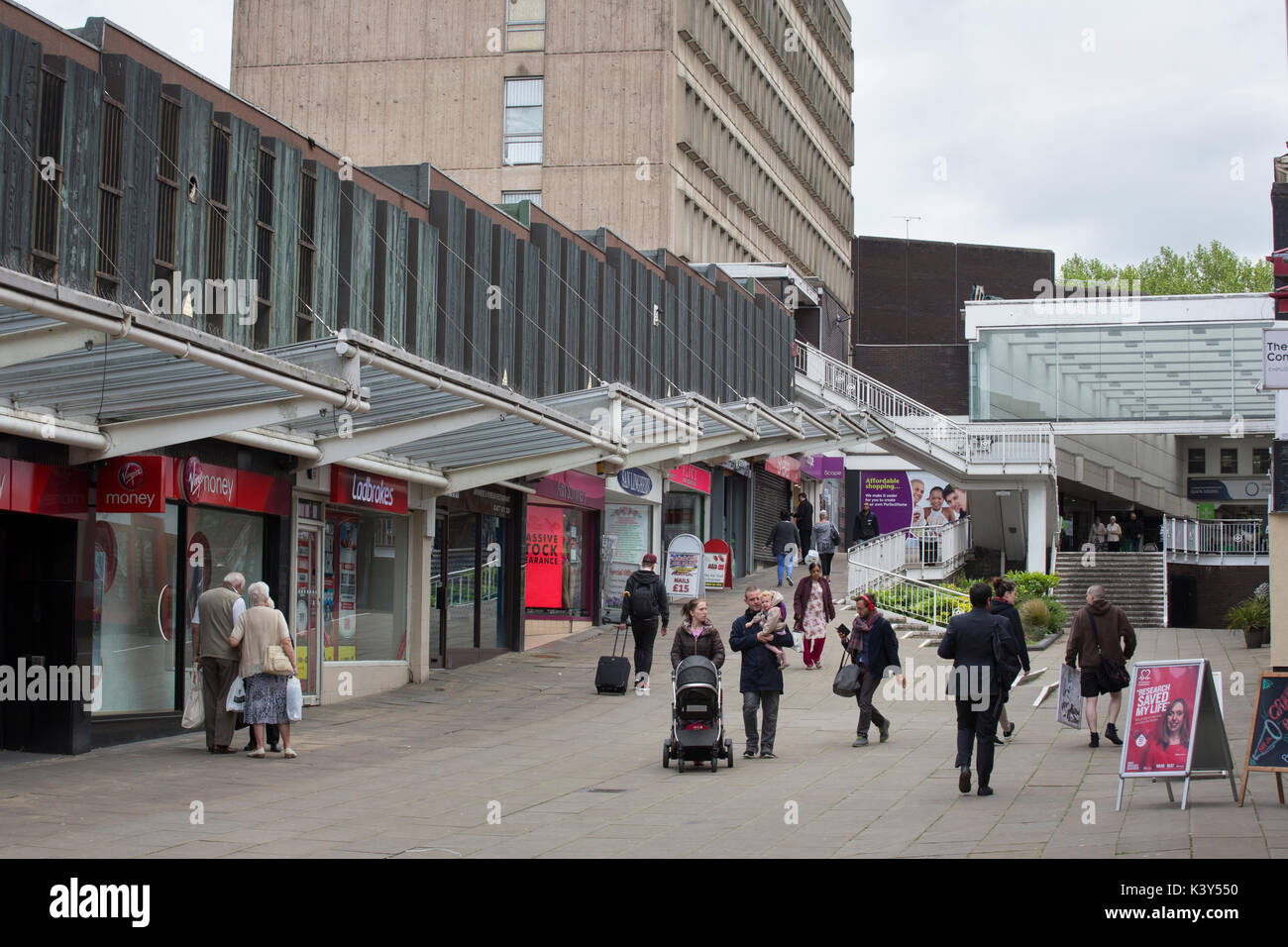 The shopping precinct in Coventry city centre. - Stock Image