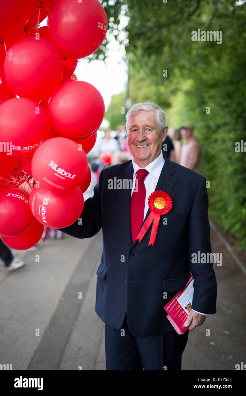Geoffrey Robinson, Labour MP for Coventry North West, campaigning in his constituency for the 2017 General Election. - Stock Image