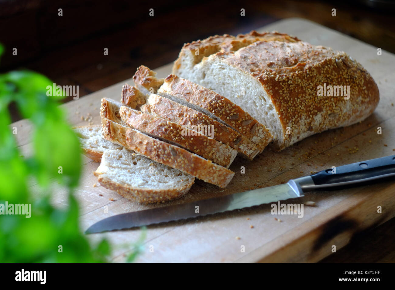 Fresh loaf of artisan bread being sliced on a wooden board. Stock Photo