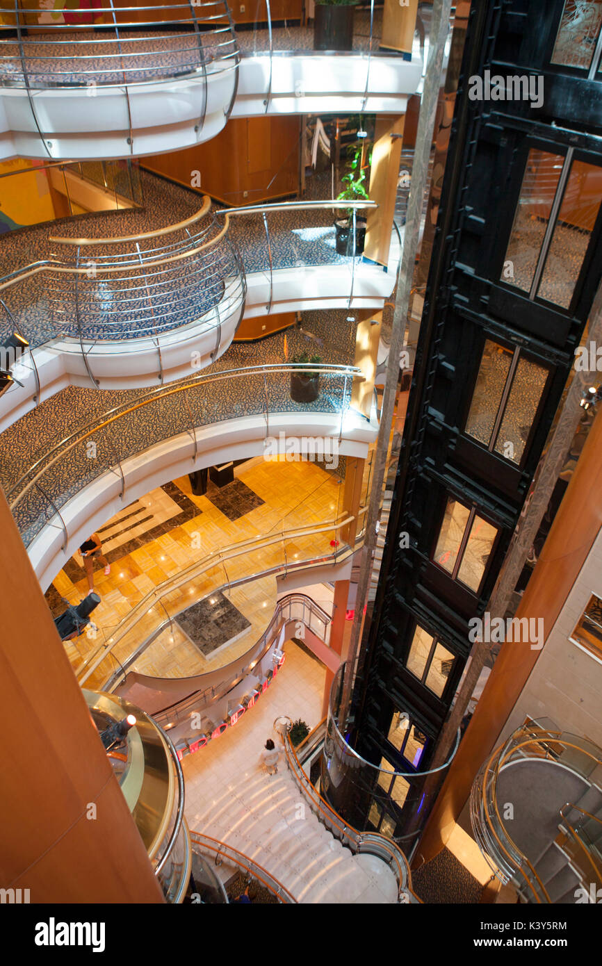 Interior of the Royal Promenade deck of Royal Caribbean Navigator of the Seas cruise ship - Stock Image
