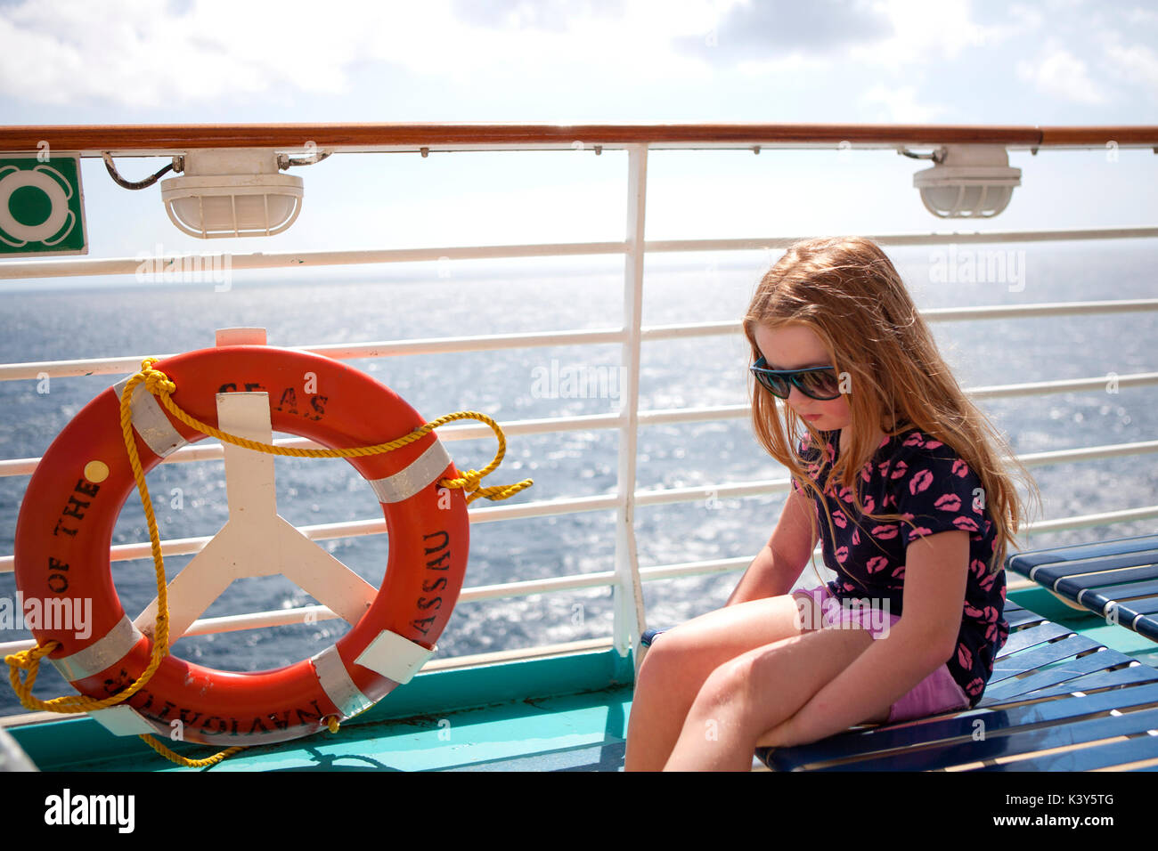 Ring buoy on a cruise ship while at sea - Stock Image