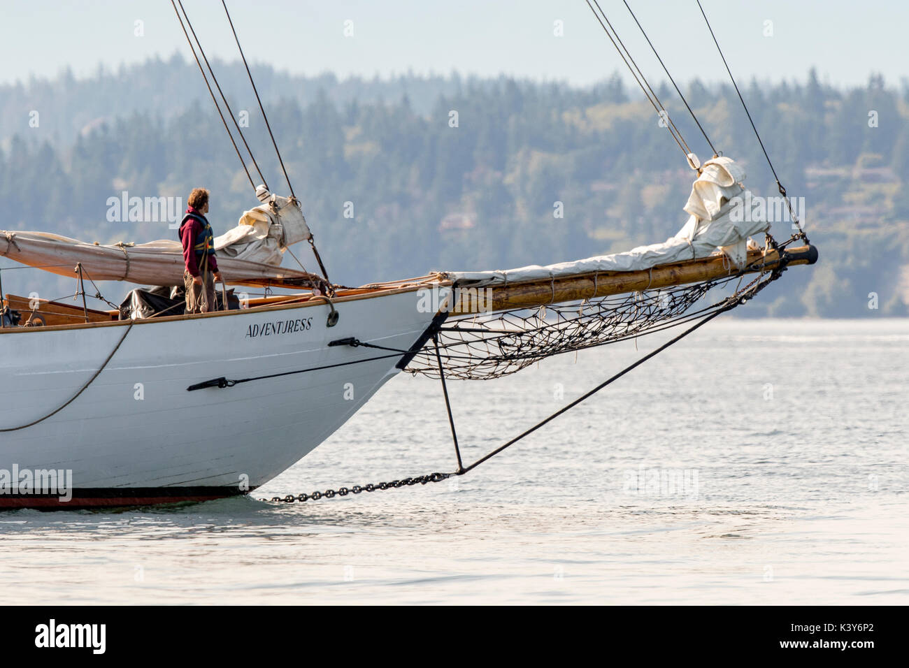 Sailing boat, sailboat wooden schooner yacht Port Townsend, Puget Sound, Washington. Sailing boat Adventuress. - Stock Image