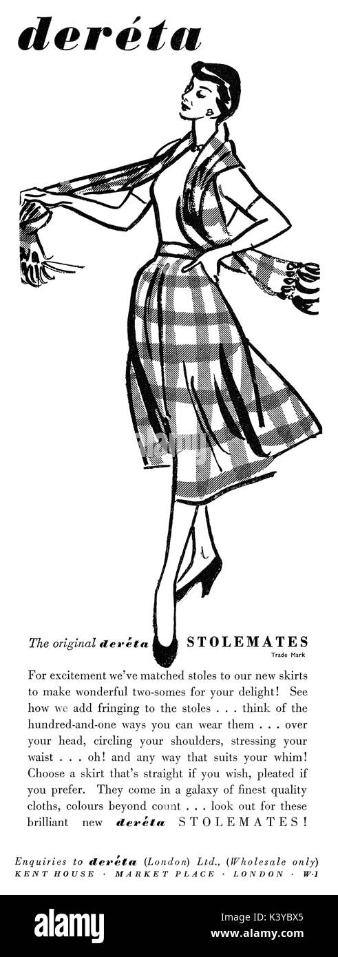 1950 British advertisement for Deréta Skirts and Stoles. - Stock Image