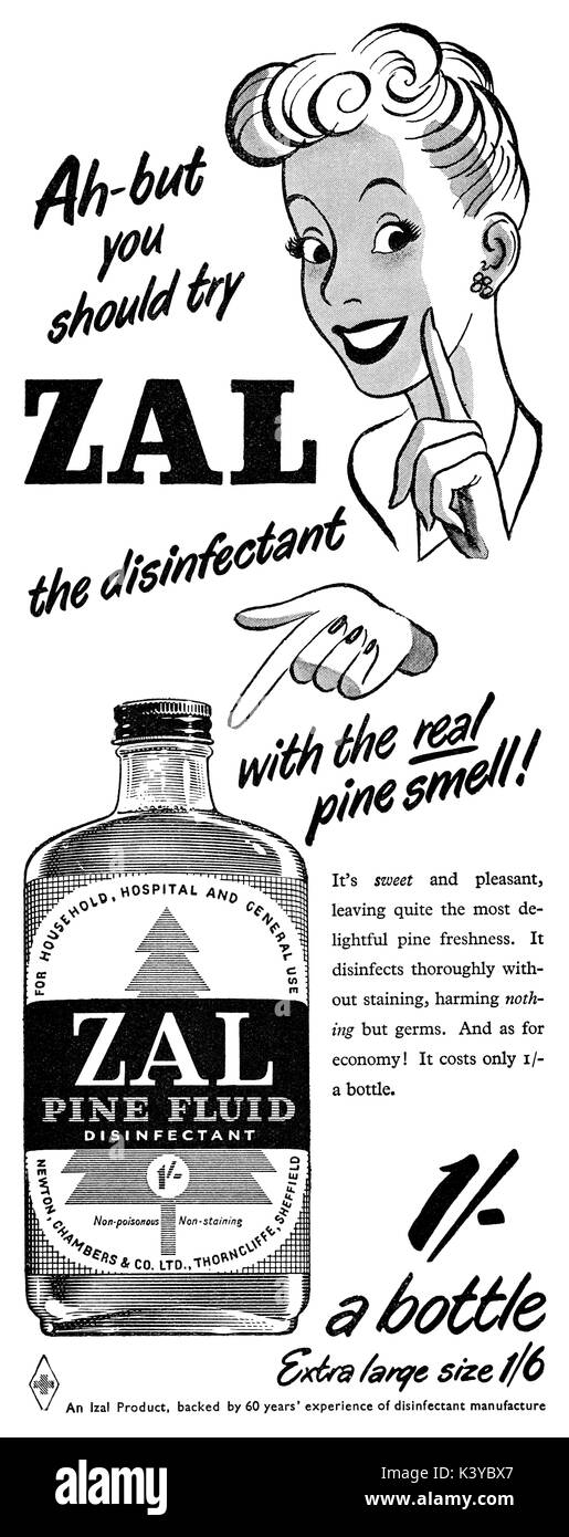 1950 British advertisement for Zal pine-scented disinfectant. - Stock Image
