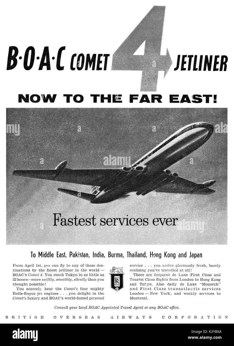 1959 British advertisement for B.O.A.C. featuring the de Havilland Comet 4 airliner. - Stock Image