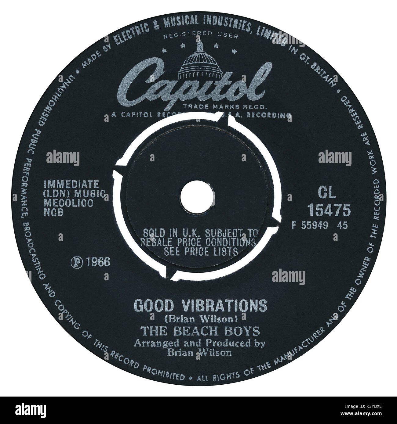 45 RPM 7' UK record label of Good Vibrations by The Beach Boys on the Capitol label from 1966. - Stock Image