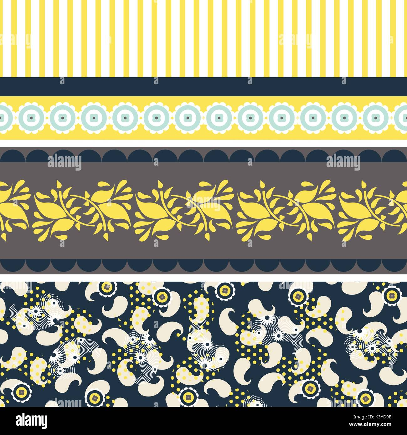 Folk floral blue and yellow seamless vector pattern. - Stock Vector