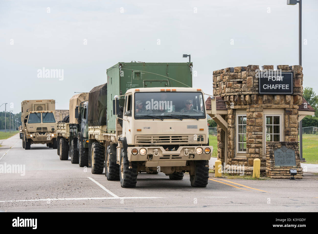 Arkansas National Guard Soldiers of the 142nd Field Artillery Brigade depart in response of Hurricane Harvey September, 2 2017 - Stock Image