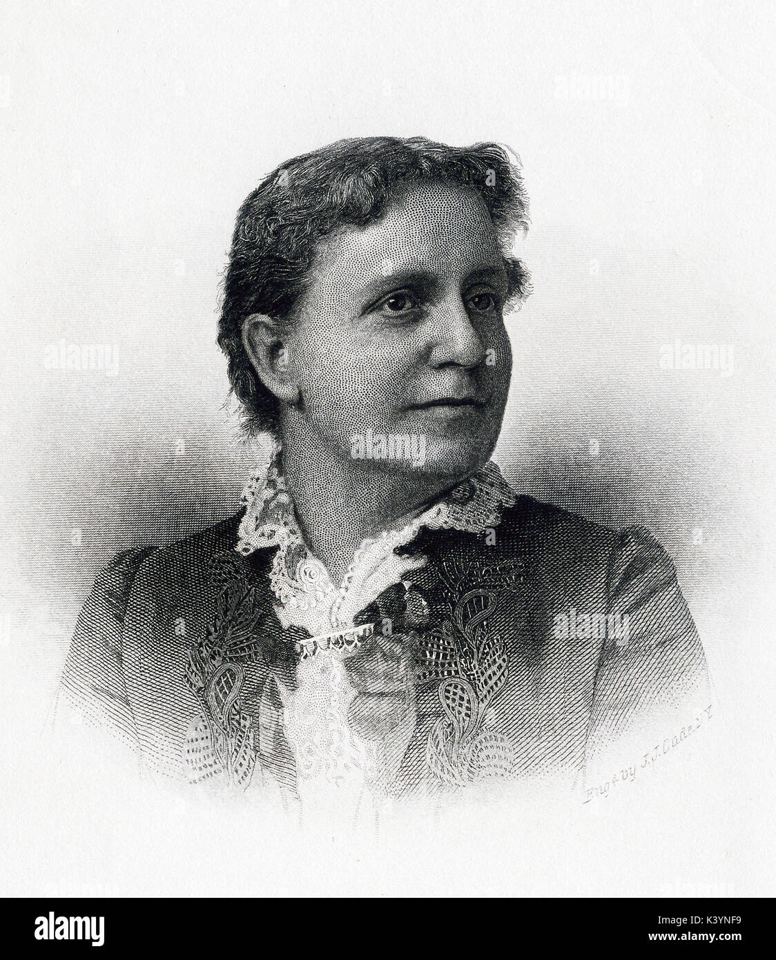 This late 19th-century illustration shows Helen Campbell The caption reads: Yours sincerely, Helen Campbell. It was engraved from a photograph expressly for this work: A.D. Worthington & Co. Publishers. Hartford. Conn. Helen Stuart Campbell (died 1918) was a social reformer, as well as a social reformer, and pioneer in the home economics field. In 1882, she published her book that became quite well know - Problem of the Poor – which was based on her work with the poor in New York City slums, including McAuley's Water Street Mission. - Stock Image